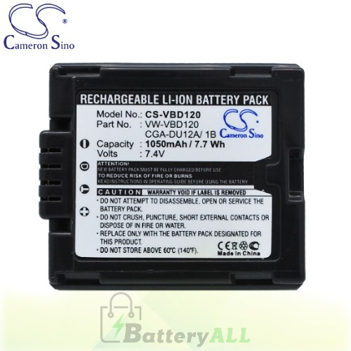 CS Battery for Panasonic NV-GS30 / NV-GS300 / NV-GS30B Battery 1050mah CA-VBD120