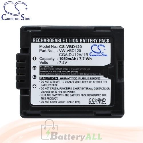 CS Battery for Panasonic NV-GS65 / NV-GS70 / NV-GS70A-S Battery 1050mah CA-VBD120