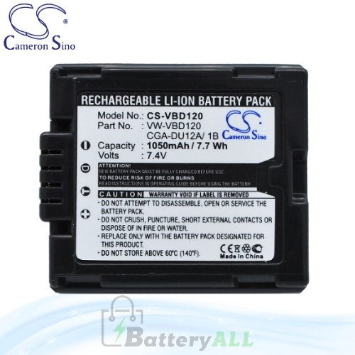 CS Battery for Panasonic PV-GS120 / PV-GS150 / PV-GS180 Battery 1050mah CA-VBD120