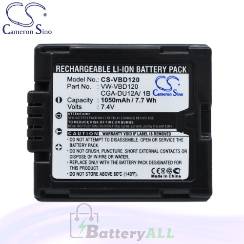 CS Battery for Panasonic PV-GS70 / PV-GS75 / VDR-D258GK Battery 1050mah CA-VBD120