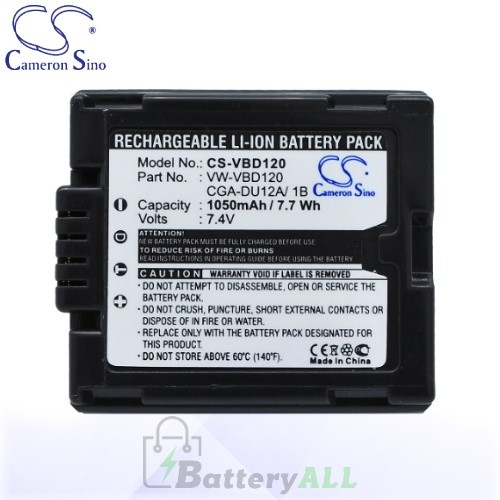 CS Battery for Panasonic DZ-GX3300(B) / DZ-GX3300(S) Battery 1050mah CA-VBD120