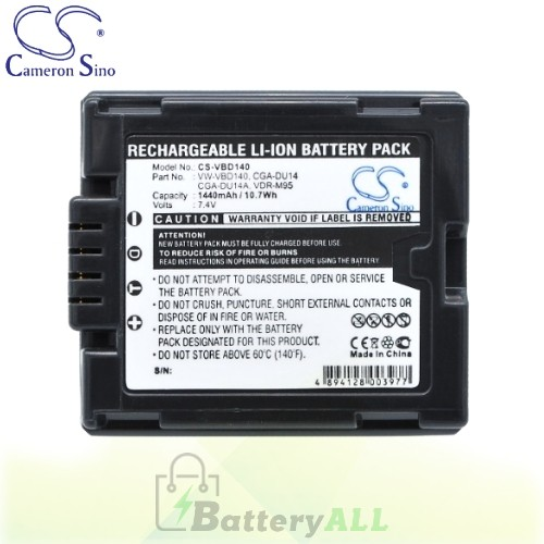 CS Battery for Panasonic VDR-D100 / VDR-D100EB-S / VDR-D150 Battery 1440mah CA-VBD140