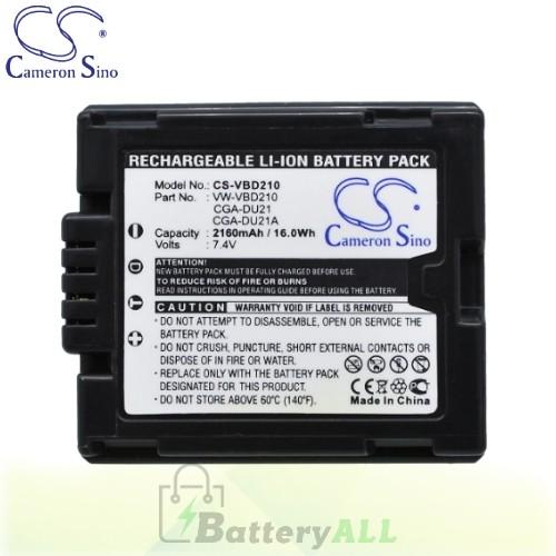 CS Battery for Panasonic VDR-D250 / VDR-D250EB-S / VDR-D300 Battery 2160mah CA-VBD210