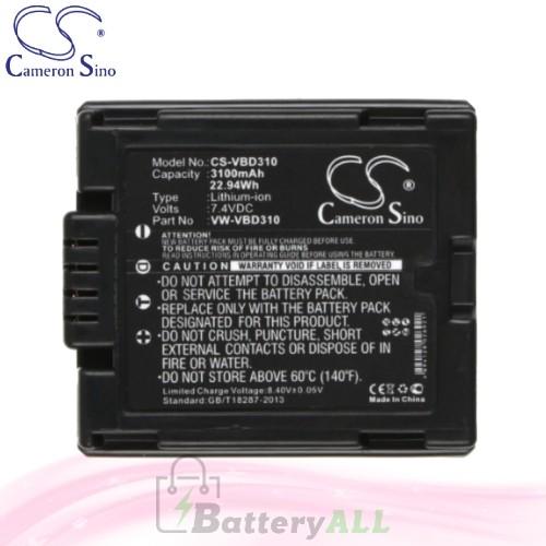 CS Battery for Panasonic NV-GS300EB-S / NV-GS300EG-S Battery 3100mah CA-VBD310
