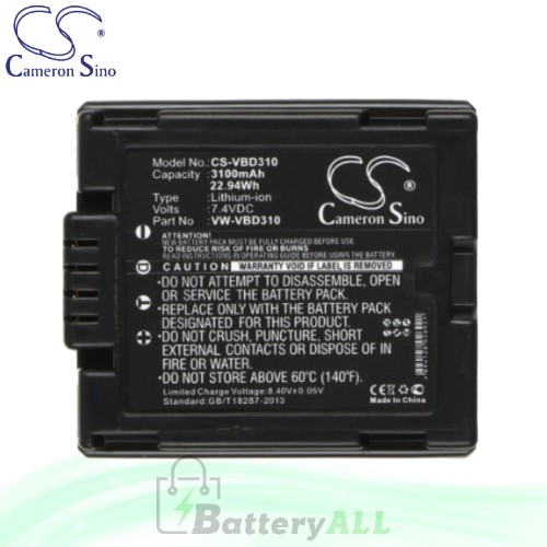 CS Battery for Panasonic SDR-H18 / SDR-H20 / SDR-H20EB-S Battery 3100mah CA-VBD310