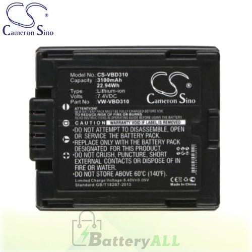 CS Battery for Panasonic VDR-D210 / VDR-D300 / VDR-D300EB-S Battery 3100mah CA-VBD310