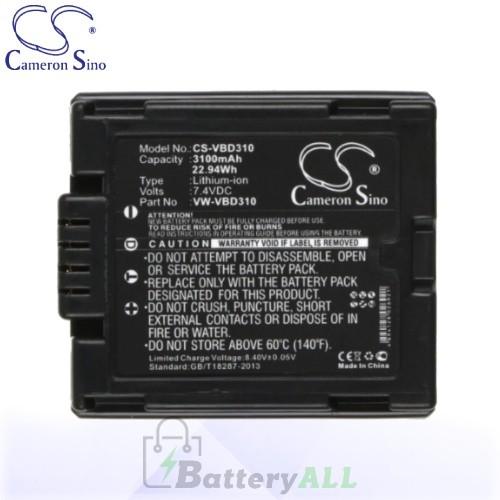 CS Battery for Panasonic NV-GS100K / NV-GS120K / NV-GS180 Battery 3100mah CA-VBD310