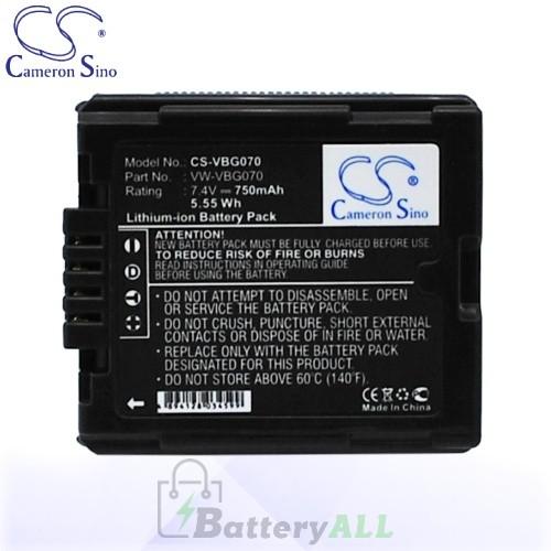 CS Battery for Panasonic VW-VBG070 / VW-VBG070A / VW-VBG070-K Battery 750mah CA-VBG070