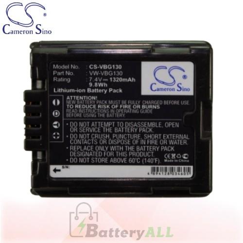 CS Battery for Panasonic HDC-SD5 / HDC-SD10 / HDC-SD10K Battery 1320mah CA-VBG130