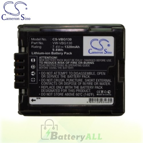 CS Battery for Panasonic HDC-TM10K / HDC-TM10S / HDC-TM15K Battery 1320mah CA-VBG130