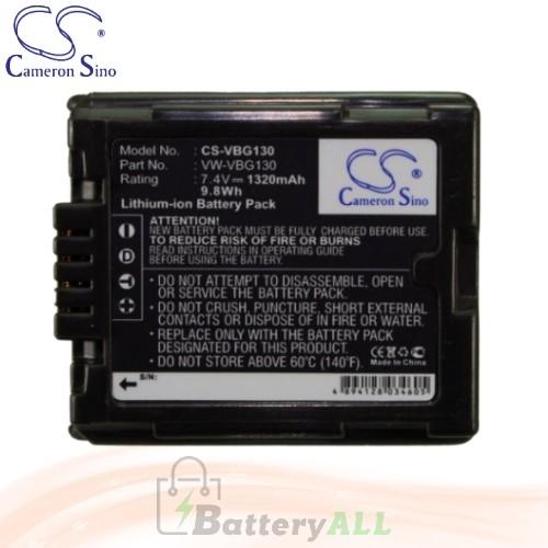 CS Battery for Panasonic PV-GS80 / PV-GS83 / PV-GS85 Battery 1320mah CA-VBG130