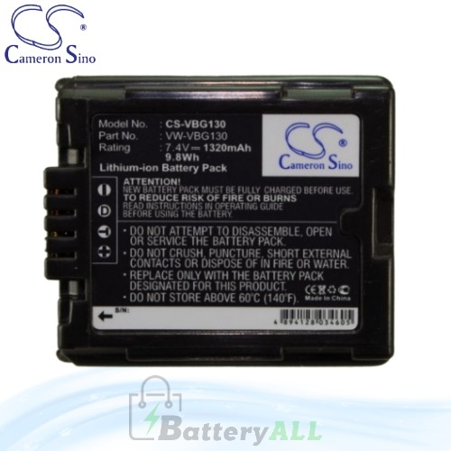 CS Battery for Panasonic SDR-H250 / SDR-H280 / SDR-H80 Battery 1320mah CA-VBG130