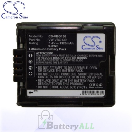 CS Battery for Panasonic AG-HMC151 / AG-HSC1 / HDC-DX1 Battery 1320mah CA-VBG130