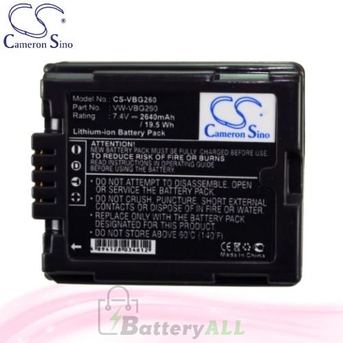 CS Battery for Panasonic HDC-TM20K / HDC-TM20K8 / HDC-TM20R Battery 2640mah CA-VBG260