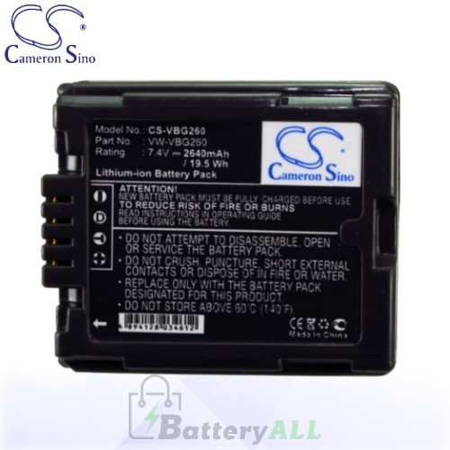 CS Battery for Panasonic HDC-HS700K / HDC-HS9 / HDC-SD1 Battery 2640mah CA-VBG260