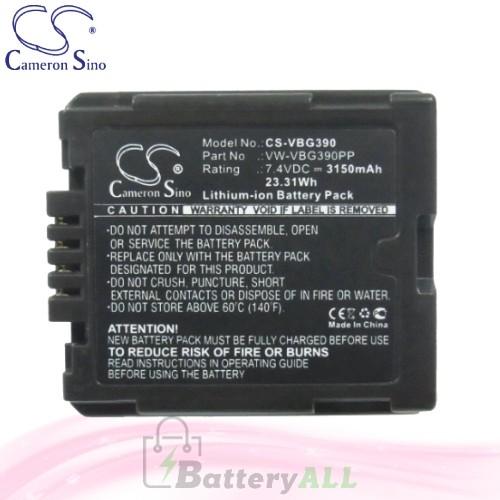 CS Battery for Panasonic HDC-SD100GK / HDC-SD200 / HDC-SD600 Battery 3150mah CA-VBG390