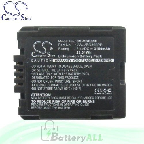 CS Battery for Panasonic SDR-H90K / VDR-D50 Battery 3150mah CA-VBG390