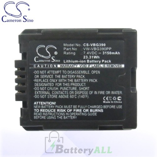 CS Battery for Panasonic HDC-HS100 / HDC-HS100GK / HDC-HS200 Battery 3150mah CA-VBG390