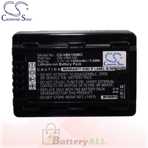 CS Battery for Panasonic HDC-HS60 / HDC-HS60K / HDC-HS60P Battery 1500mah CA-VBK180MC