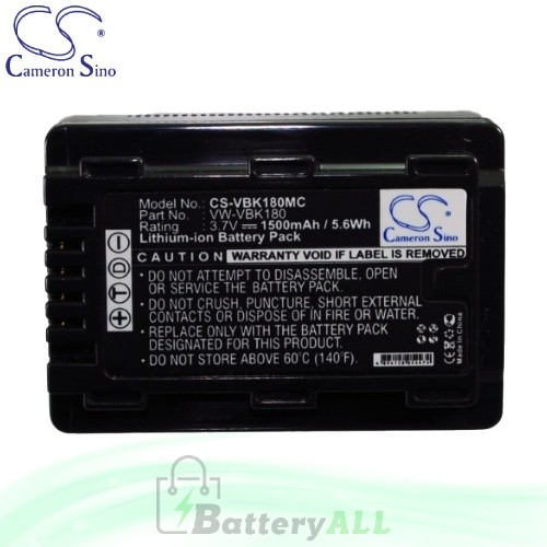 CS Battery for Panasonic HDC-SD60P / HDC-SD60PC / HDC-SD90 Battery 1500mah CA-VBK180MC