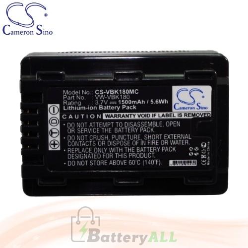 CS Battery for Panasonic HDC-TM80PC / HDC-TM90 / HDC-TM90K Battery 1500mah CA-VBK180MC