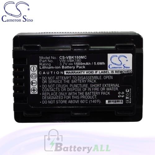 CS Battery for Panasonic SDR-S70P / SDR-S70PC / SDR-S70R Battery 1500mah CA-VBK180MC