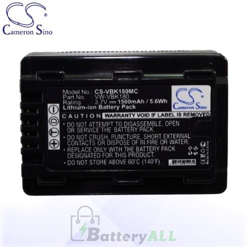 CS Battery for Panasonic HC-V11M / HC-V100 / HC-V100EG-K Battery 1500mah CA-VBK180MC