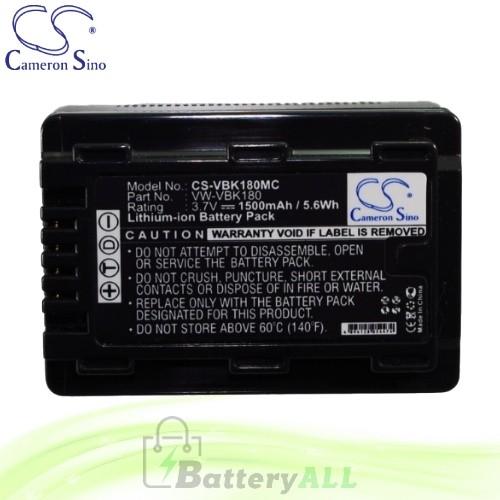 CS Battery for Panasonic HDC-TM25 / SDR-T70K / SDR-T70P Battery 1500mah CA-VBK180MC