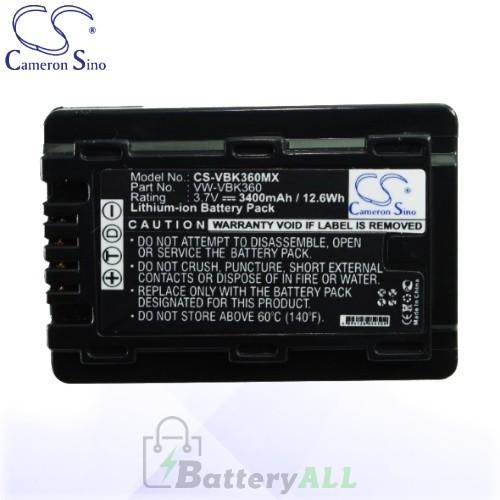 CS Battery for Panasonic HDC-SD60S / HDC-TM55K / HDC-TM60 Battery 3400mah CA-VBK360MX