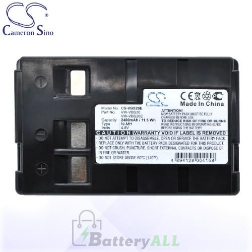 CS Battery for Panasonic NV-A1 / NV-A1EN / NV-ALEN / NV-R11A Battery 2400mah CA-VBS20E