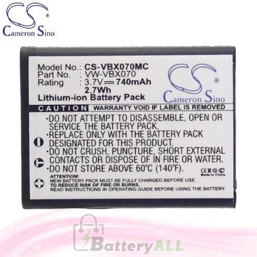 CS Battery for Panasonic HX-DC3R / HX-DC3W / HX-DC10 Battery 740mah CA-VBX070MC