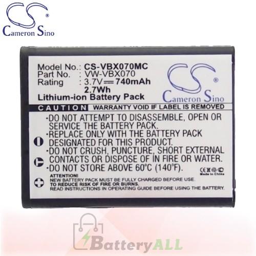 CS Battery for Panasonic HX-DC10GK / HX-WA10GK / HX-WA20 Battery 740mah CA-VBX070MC