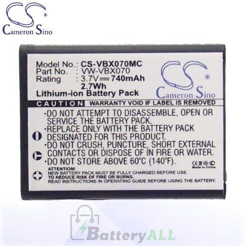 CS Battery for Panasonic HX-DC2 / HX-DC1EB-W / HX-DC1EF-H Battery 740mah CA-VBX070MC