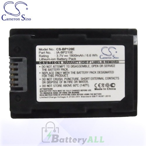CS Battery for Samsung HMX-H204 / HMX-H204BN / HMX-H205 Battery 1800mah CA-BP120E