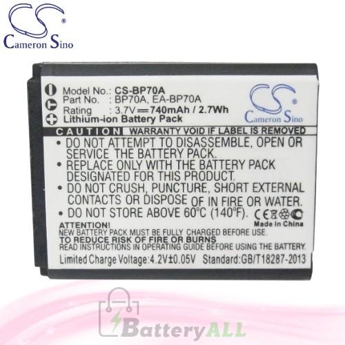 CS Battery for Samsung PL20 / PL21 / PL80 / PL81 / PL90 / PL91 Battery 740mah CA-BP70A