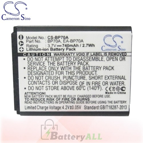 CS Battery for Samsung ST88 / ST89 / ST90 / ST91 / ST93 Battery 740mah CA-BP70A
