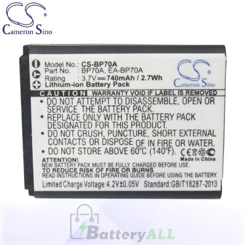 CS Battery for Samsung EC-SL50ZZBPBUS / EC-ST65ZZBPUUS Battery 740mah CA-BP70A