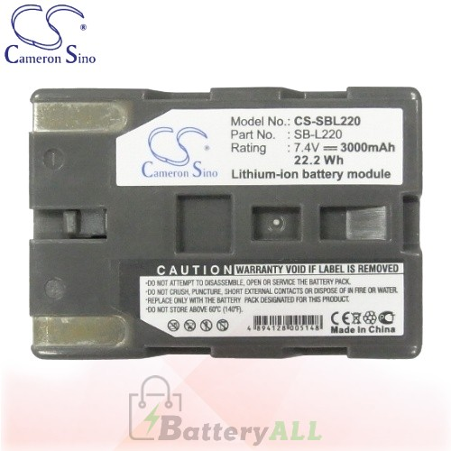 CS Battery for Samsung VP-D305 / VP-D307 / VP-D323 / VP-D327 Battery 3000mah CA-SBL220