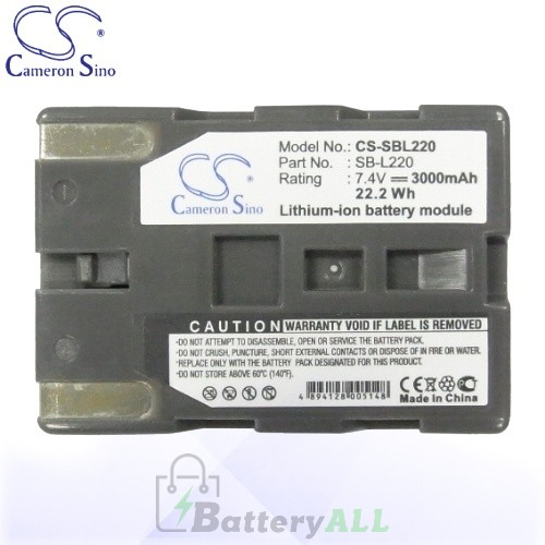 CS Battery for Samsung SCD323 / VP-D7L / VP-D24 / VP-D26 Battery 3000mah CA-SBL220