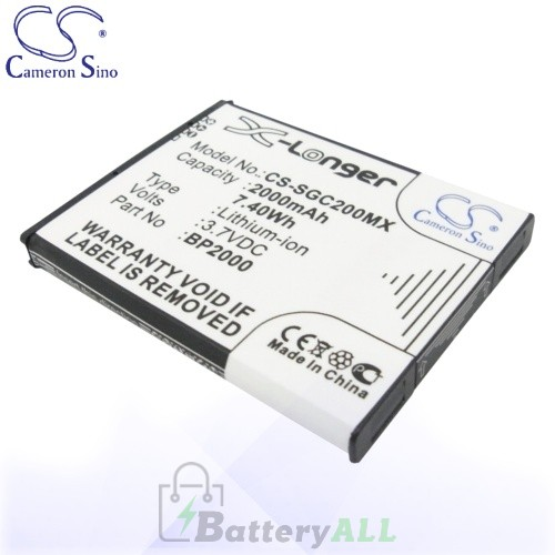 CS Battery for Samsung BP2000 / EA-BP2000 Battery 2000mah CA-SGC200MX