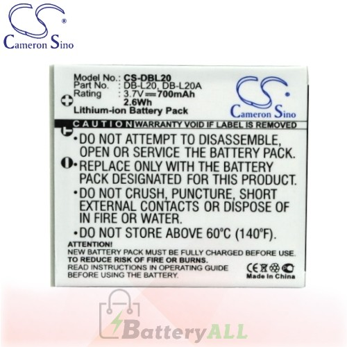 CS Battery for Sanyo Xacti VPC-CA65 / VPC-CA6 / VPC-CA8 Battery 700mah CA-DBL20