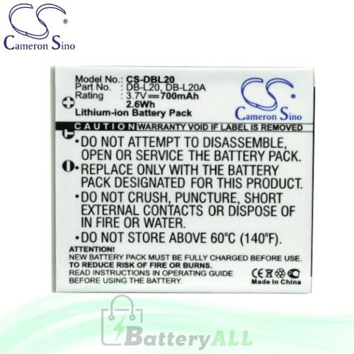 CS Battery for Sanyo Xacti VPC-E6 / VPC-E6 EX / VPC-E6U Battery 700mah CA-DBL20