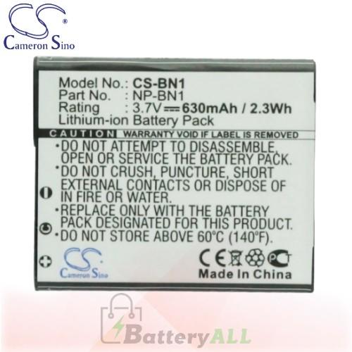 CS Battery for Sony Cyber-shot DSC-TX10B / DSC-TX10G / DSC-TX10P Battery 630mah CA-BN1