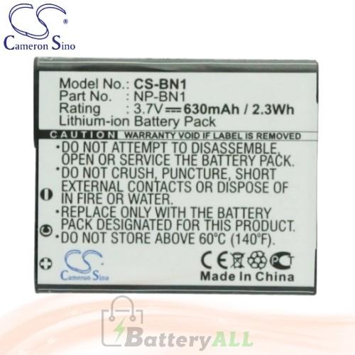 CS Battery for Sony Cyber-shot DSC-W380 / DSC-W380B / DSC-W380S Battery 630mah CA-BN1
