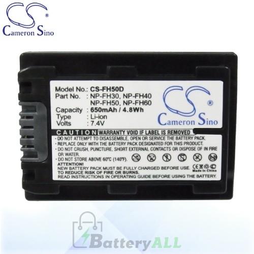 CS Battery for Sony DCR-SR200C / DCR-SR200E / DCR-SR210E Battery 650mah CA-FH50D