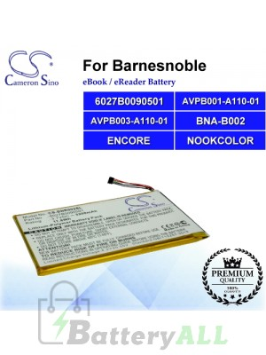 CS-BNR002SL For Barnes & Noble Ebook Battery Model 6027B0090501 / AVPB001-A110-01 / AVPB003-A110-01 / BNA-B002 / ENCORE / NOOKCOLOR