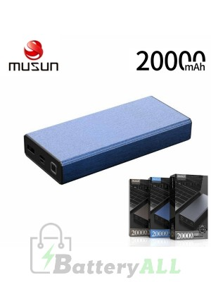 Musun PD Fast Charge Powerbank G20 20000mAH TYPE-C Laptop Charging - Blue