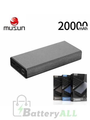 Musun PD Fast Charge Powerbank G20 20000mAH TYPE-C Laptop Charging - Gray