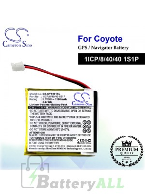 CS-CYT001SL For Coyote GPS Battery Model 1ICP/8/40/40 1S1P