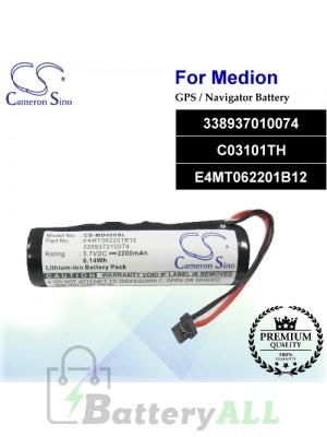 CS-MD400SL For Medion GPS Battery Model 338937010074 / C03101TH / E4MT062201B12